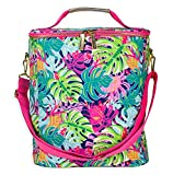 Cute Large Insulated Portable Cooler Bag, 4 BottleWine/Champagne Cooler, Family Size Soft Sided Picnic and Market Tote Bag for Beach, Camping, Tropical Leaf