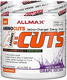 Allmax A-Cuts Amino Cuts Amino Charged Energy Preworkout Fat Burning CLA Taurine Green Coffee Choose from 8 Flavors (Grape...