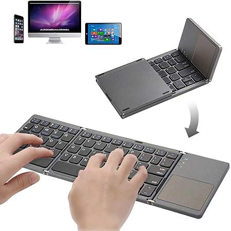 Teclado Bluetooth plegable de tamaño de bolsillo Teclado portátil USB recargable Bluetooth con teclado táctil Mini teclado para Windows, Android, iOS, ...