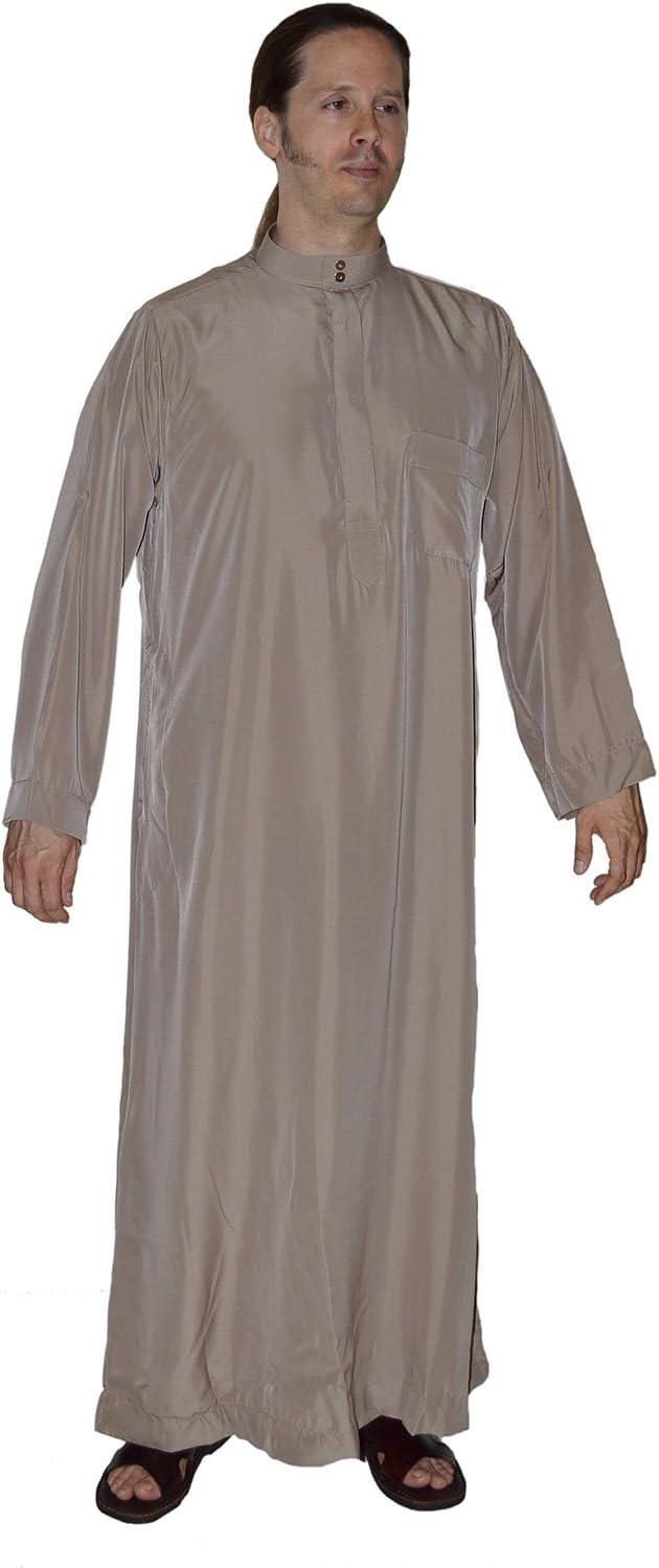 Men Saudi Style Thobe Daffah Dishdasha Islamic Arabian Kaftan Brown 56 Inches Long