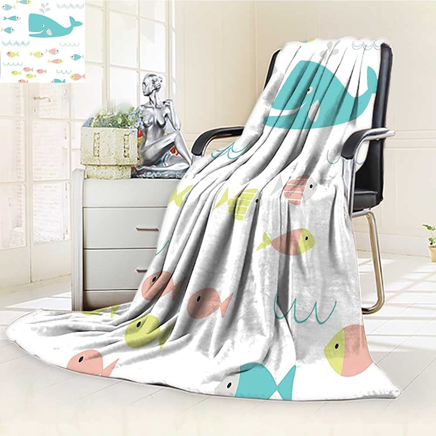 YOYI-HOME Fleece Duplex Printed Blanket 300 GSM Whale Decor Smiling Whale with Schoal of Tiny Fish Artwork bluee Yellow Pink and White Reversible Super Soft Warm Fuzzy Bed Blanket  W39.5 x H59