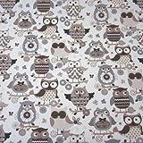 Tessuto al metro in cotone, con motivo di gufi, di colore marrone/beige, realizzato in Francia