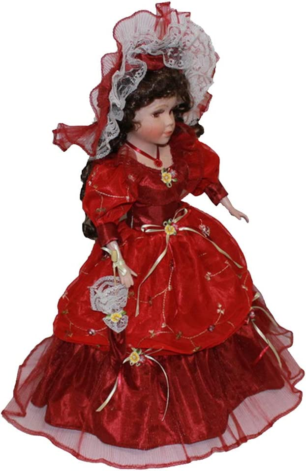 lahomia 40cm Victorian Porcelain Doll with Red Court Dress Hat Home Display Decor