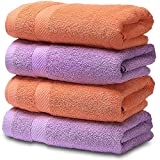 SEMAXE Soft Cotton Hand Towel for Bathroom,Absorbent Fade-Resistant Towel,16 x 27 inch (Orange+Purple, 4 Hand Towel)