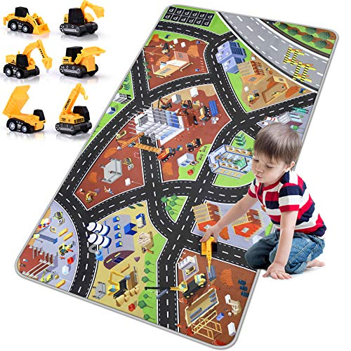 Kids Play Mat Playroom Rug - 3D City Engineering Rugs Carpet with 8 Two-way Hot Wheels Track, 6 Mini Engineer Pull Back Car Toys and Non-slip Design for Boys Toddlers Playroom Bedroom Decor(67''x35'')