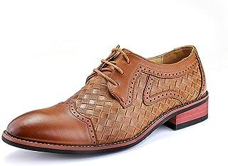 XIANCHUAN Oxford de Negocios para Hombres Zapatos Formales con Cordones Gorro de Cuero celulósico Toe Amortiguamiento Suelas Patrón de Tejido Cosido Sólido Moda clásica