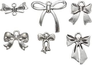 78pcs (About 108g) Mixed Style Antique Silver Plated Bow Tie Charms Pendant Bracelets Necklace Jewelry Findings Jewelry Making Craft DIY (a-1152)