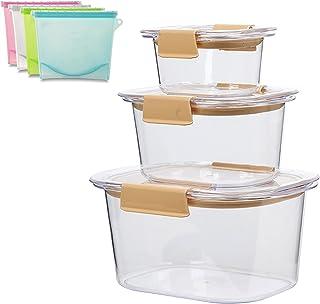 Lot de récipients alimentaires réutilisables avec couvercles à verrouillage facile, boîtes hermétiques en plastique pour r...