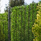 FairyTrees Seto Artificial, GreenFences, Cubierta de Valla, Terraza, Balcón, Verde Claro, de PVC Sintético, Siempre Verde, Altura 100 cm, 3 m