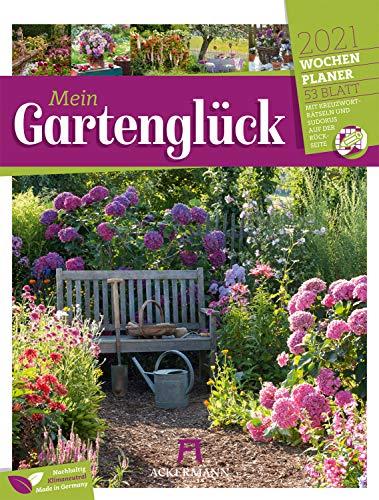 Gartenglück - Wochenplaner Kalender 2021, Wandkalender im Hochformat (25x33 cm) - Wochenkalender Blumen und Gärten, mit Rätseln und Sudokus