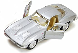 Kinsmart 1963 Chevy Corvette Stingray, Silver 5358D - 1/36 scale Diecast Model Toy Car, but NO BOX