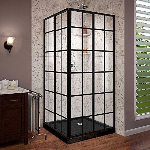 DreamLine French Corner 36 in. D x 36 in. W x 74 3/4 in. H Sliding Shower Enclosure in Satin Black and Corner Drain Black Base Kit, DL-6789-09