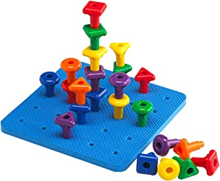 Kicko Stacking Pegs with Board - 8.5 Inch Square Board, 2 Inch Pegs - Includes 2 Boards and 60 Pegs - Assorted Colors - Fun Game for Kids, Montessori, Occupational therapy, Motor Skills, Autism