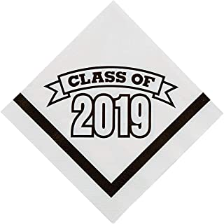Fun Express - Class Of 2019 White Lunch Napkins (50pc) for Graduation - Party Supplies - Print Tableware - Print Napkins - Graduation - 50 Pieces