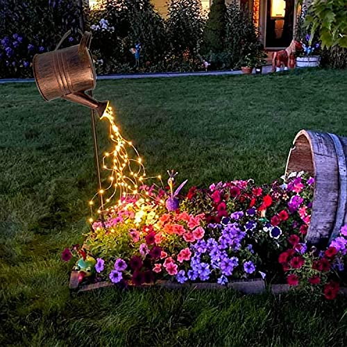 Watering Can Garden Decorations Outdoor Shower Lights - Waterproof Sculptures Accessories Ornament Solar Star Led Copper Wire Fairy Art Decorative Lamp Hanging Yard (with Bracket)