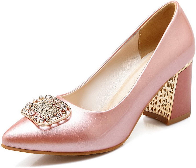 BalaMasa Girls Zircon Square Buckle Electroplate Heel Imitated Leather Pumps-shoes