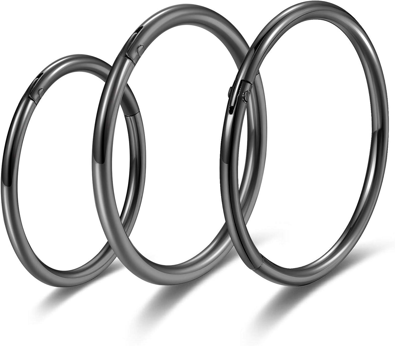 Black Hinged 20g 18g 16g Nose Rings Hoops 6mm 8mm 10mm 12mm 14mm 16mm Septum Ring Clicker Cartilage Helix Hoop Earrings Set