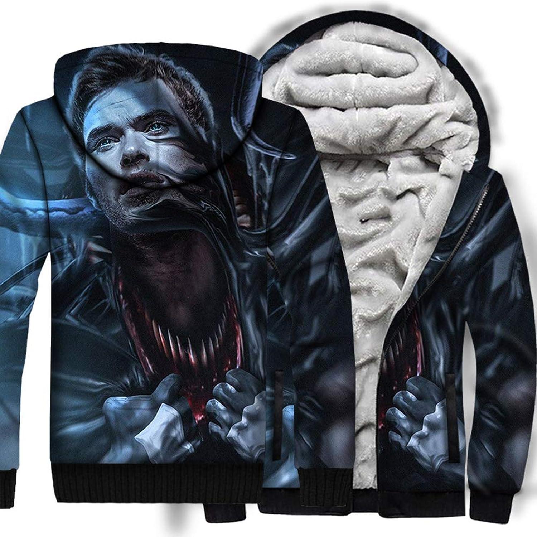 3D Hoodie Zipper Hooded Sweatshirt Flannel Thickening Superhero Venom Cap Sweater Autumn Winter