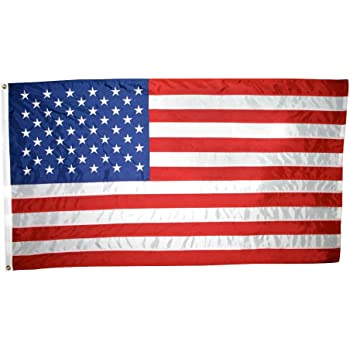 American Flag 2-1/2x4 ft. Nylon SolarGuard Nyl-Glo , 100% Made in USA with Sewn Stripes, Embroidered Stars and Brass Grommets.