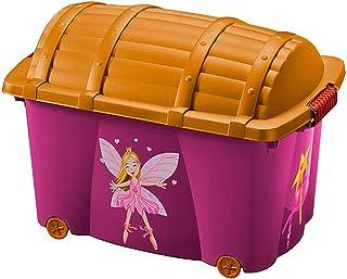 Boîte de rangement plastique motif fée 50L avec couvercle Jouets chaussures vêtements roulettes enfants Modèle Fées