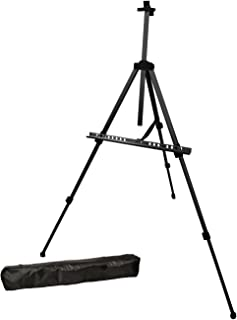 US Art Supply Black Pismo Lightweight Aluminum Field Easel - Great for Table-Top or Floor Use - Free Carry Bag