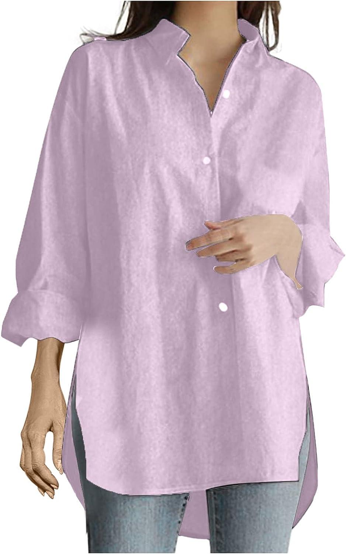 Hemlock Women Turn Down Collar Shirts Solid Color Work Blouse Long Sleeve Tops Button Down Shirt Outwear