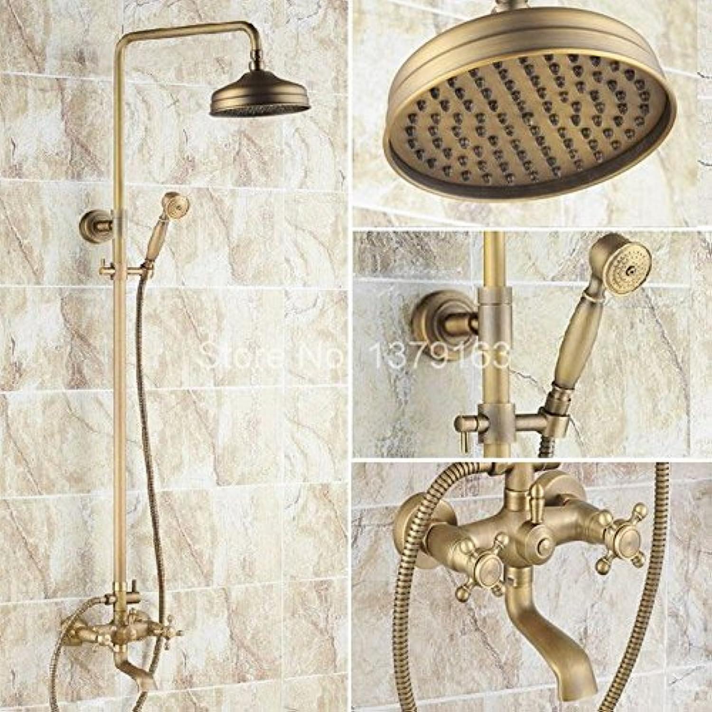 Luxurious shower Messing antik Zwei Kreuzgriffe Badezimmer Regendusche Wasserhahn Set Whirlpool Mixer + 8  Rund Regendusche + Handdusche ars046 Tippen Sie auf