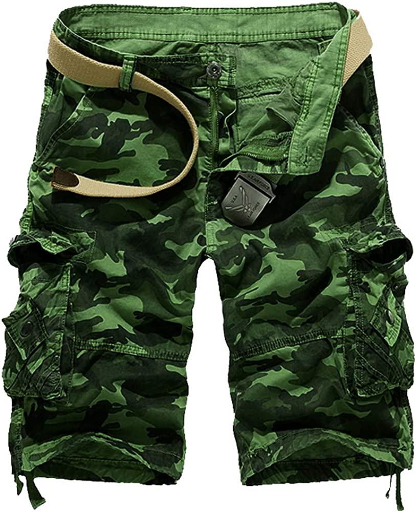Grimgrow Men's Casual Camo Twill Relaxed Fit Outdoor Camouflage Cargo Shorts