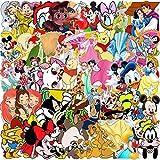 Cartoon Mickey Mouse Pegatinas YUESEN 112PCS Mickey Mouse Blancanieves Equipaje Piano Coche Bicicleta Graffiti Pegatina Impermeable para Monopatines de Guitarra de Computadora para Coche