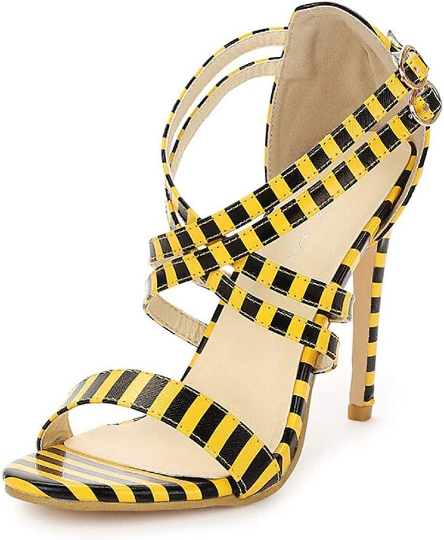 ZHZNVX Women's PU Summer Sweet Sandals Stiletto Heel Open Toe Buckle Black White Black Yellow Party & Evening Striped
