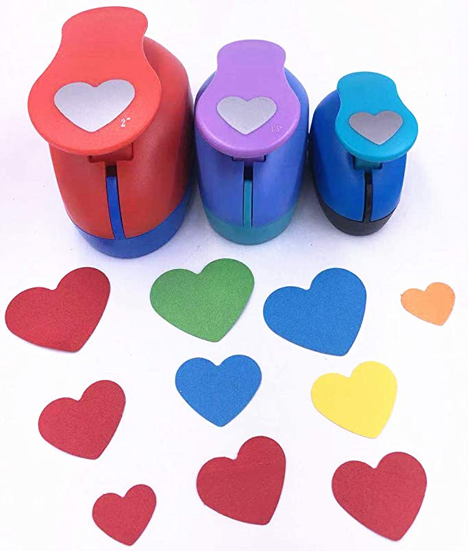 TECH-P Set of 3PCS Heart (2 inch+1.5 inch+1inch) Craft Punch Set Paper Punch Craft Scrapbooking Eva Punches Valentine's Day Gift Punch(Heart) lbubcacn041273