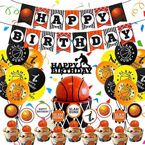 CHEPL Suministros Fiesta Cumpleaños Baloncesto 45PCS Original Baloncesto Temática Decoración Decoracion Cumpleaños Globos de látex para niños Baloncesto Deporte Tema