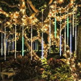 BlueFire Aktualisiert Meteorschauer Regen Lichter, 50cm 10 Tubes 540 LEDs Wasserdichte Schneefall Lichterkette für Draussen/Innenraum/Garten/Hochzeit/Party/Weihnachten Dekoration (Bunt)