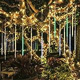 BlueFire Aufgerüstet Meteorschauer Regen Lichter, 50cm 10 Spirale Spirale Tubes 540 LEDs Wasserdichte Schneefall Lichterkette für Draussen/Innenraum/Garten/Hochzeit/Party/Weihnachten Dekoration (Bunt)