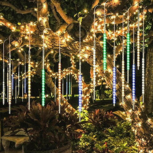 BlueFire Upgraded 50cm 10 Tubes 540 LED Meteor Shower Rain Lights,Waterproof Drop Icicle Snow Falling Raindrop Cascading lights for Wedding Party Christmas New Year Garden Tree Decoration (Multicolor)