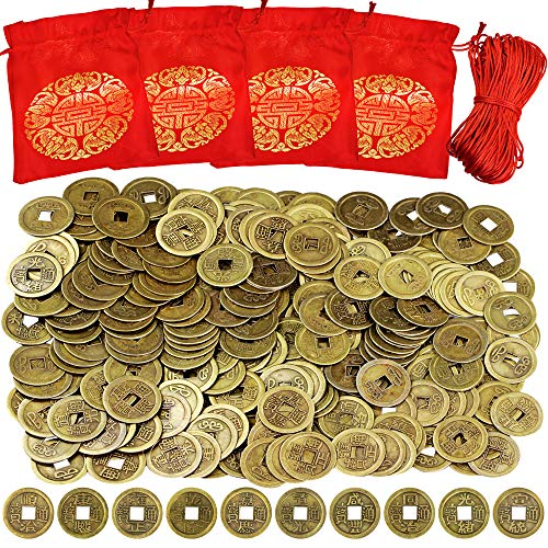 Supla 260 Pcs Chinese Coins Feng Shui Coins Good Fortune Coins Good Luck Coins and Lucky Bag for Chinese New Year Health Wealth Bracelet Charms 2021 Year of The Ox Decorations