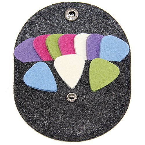 Felt Ukulele Picks,10 Piece Felt Heart Shape Pick for Ukulele Guitar Bass with pick holder case (Original 10 Pcs)