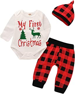 Newborn Baby Boy Girl My First Christmas Outfits Infant Deer Romper Tops+Red Plaid Long Pants Hat 3Pcs Fall Clothes