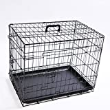 Hundekäfig faltbar, Größe M, Abmessungen: 76 x 46 x 51,5 cm, Farbe schwarz, Transportbox, Transportkäfig, Drahtkäfig, Hundebox, Käfig