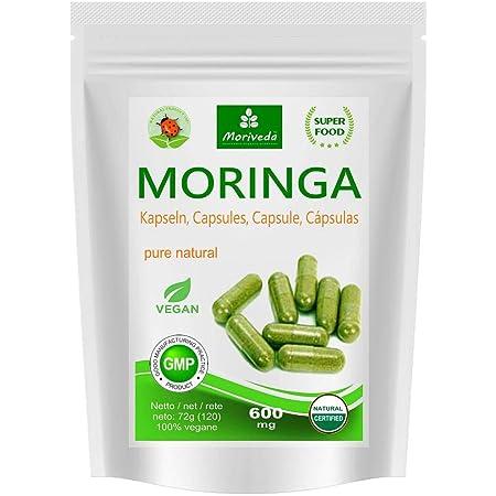 Cápsulas de Moringa 600 mg o Moringa Energy Tabs 950 mg - Oleifera, vegano, producto de calidad de MoriVeda (120 cápsulas)