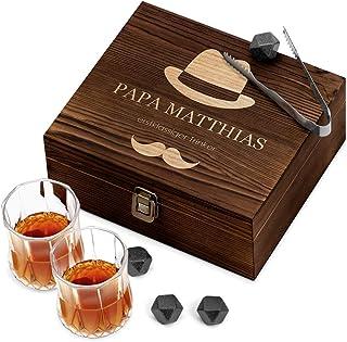 Murrano Whisky Steine Set - in Holzbox mit Gravur - 8 Eiswürfel  2 Whisky Gläser - wiederverwendbar - aus Granit - Geschenk für Männer - erstklassiger Trinker