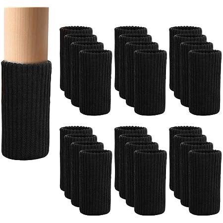 [24枚入り] 椅子脚カバー 椅子あしカバー チェアソックス イス足カバー 高弾性 騒音と傷防止 取り付け簡単 - ダイニング チェア 脚 カバ (24, ブラック)