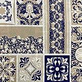Kt KILOtela Tela de loneta Estampada - Retal de 100 cm Largo x 280 cm Ancho   Azulejos - Azul, Beige, Blanco ─ 1 Metro