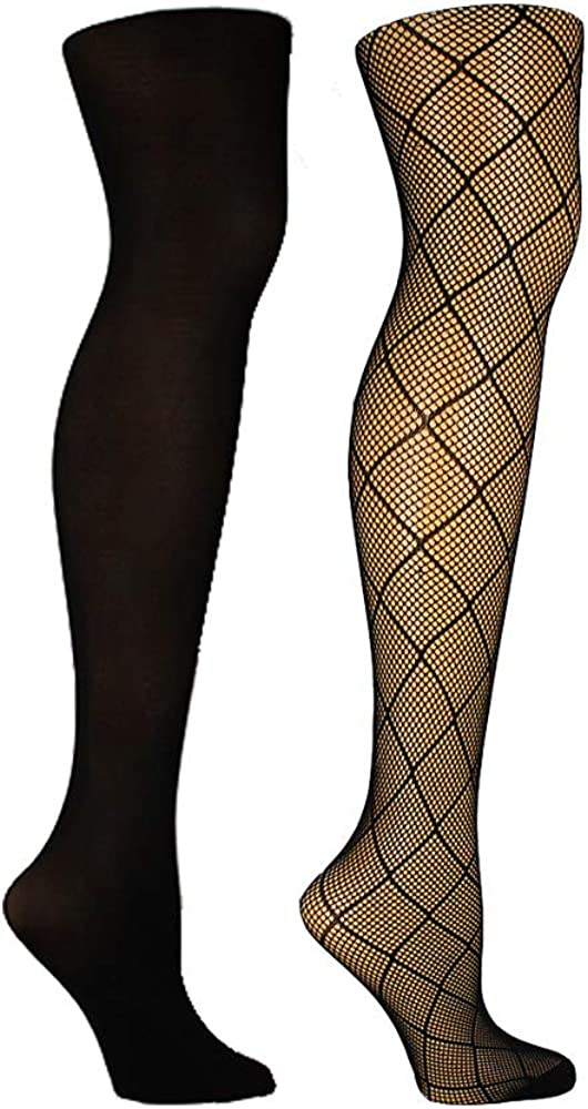 Steve Madden womens 2pk Diamond Openwork and Solid Opaque Tight Sm42403