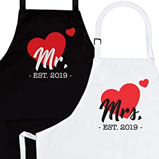 Mr. & Mrs. Established 2019 2-Piece Apron Set - Matching Engagement Wedding Anniversary Bridal Shower Gift