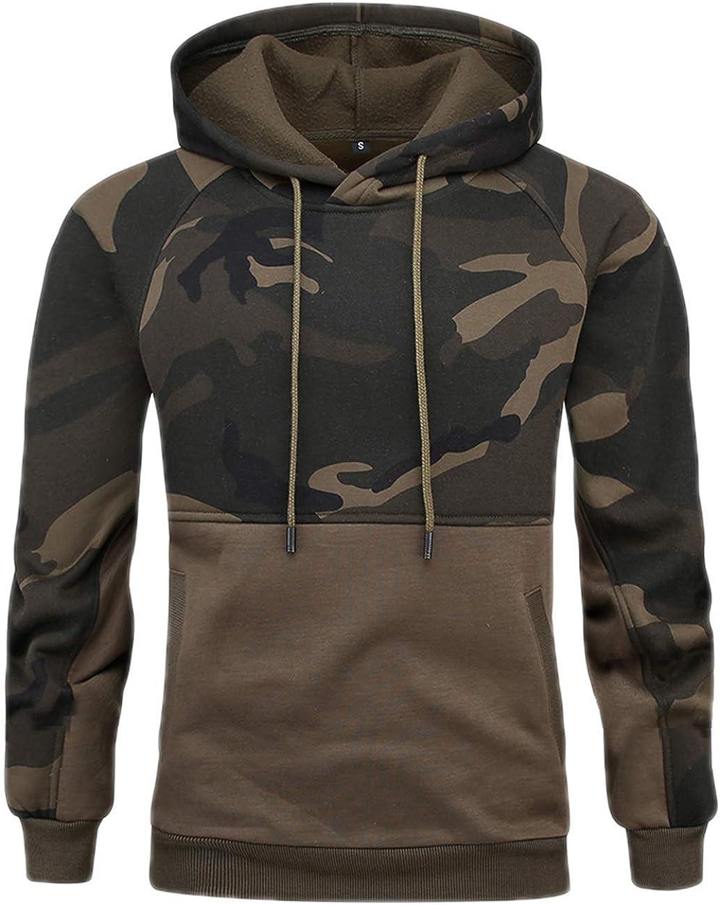 Novelty Color Block Pullover Fleece Unisex Couple Hoodie Long Sleeve Casual Sweatshirt with Pocket Camo Green