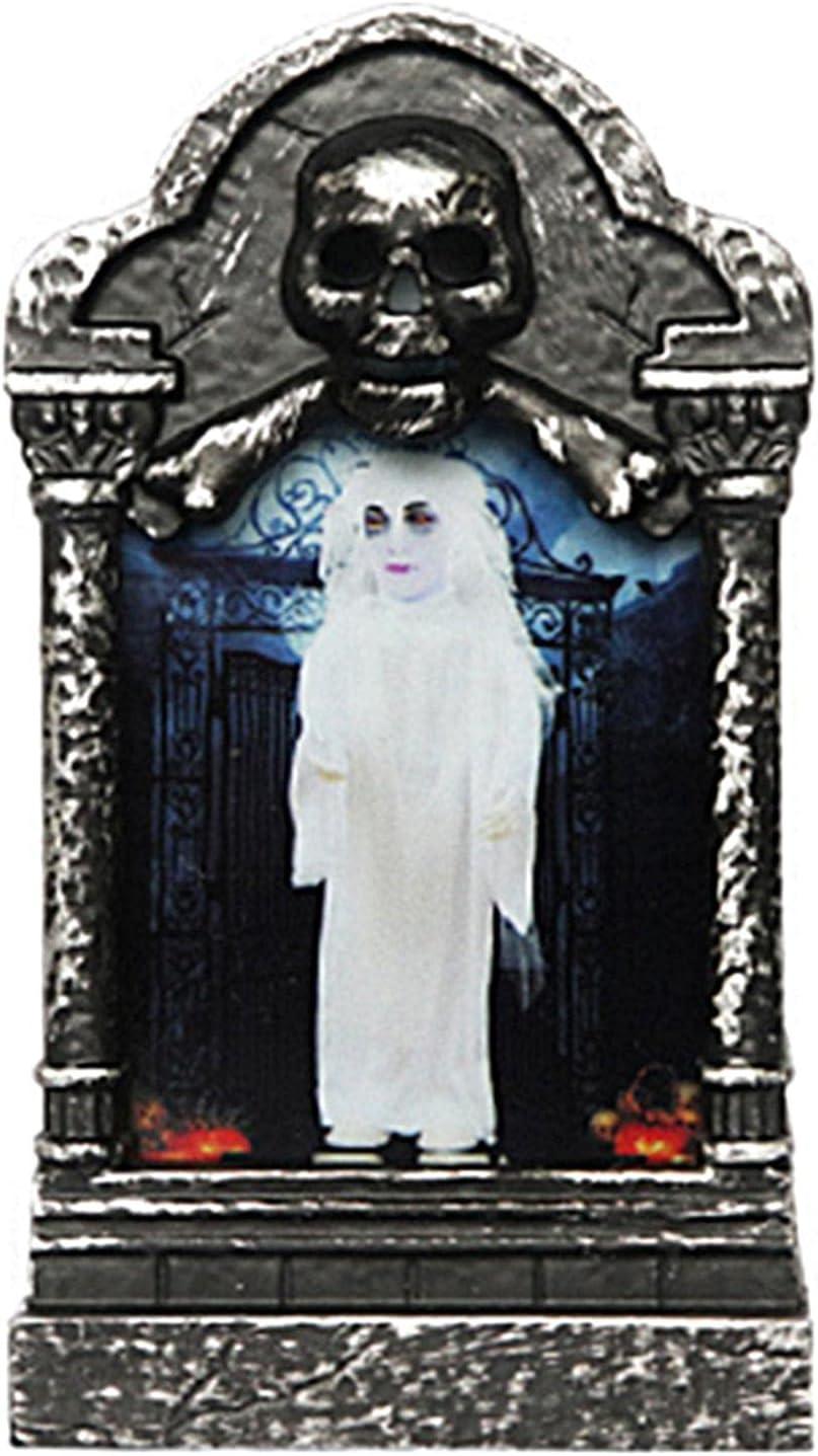 POHOVE Lápidas de cementerio LED de Halloween, 4/1 piezas de lápidas de Halloween, decoración de lámpara de lápida de Halloween, decoración de jardín, suministros de fiesta (negro, tamaño: tipo E)