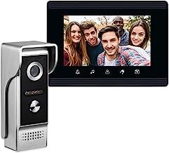 AMOCAM Video Intercom System, 7 Inches Monitor Wired Video Door Phone Doorbell Kits, IR..