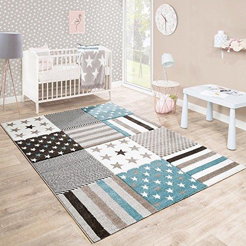Paco Home Kinderteppich Kinderzimmer Konturenschnitt Stern Muster Beige Creme Pastellfarben, Grösse:120x170 cm