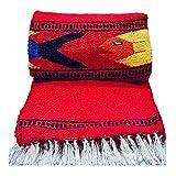 Serape Mexican Blanket, Yoga Mat, Camping Blanket, Beach Blanket, Picnic Blanket, Handmade Woven Throw Blanket, Home Decor, Car Blanket (Fish) (Red)